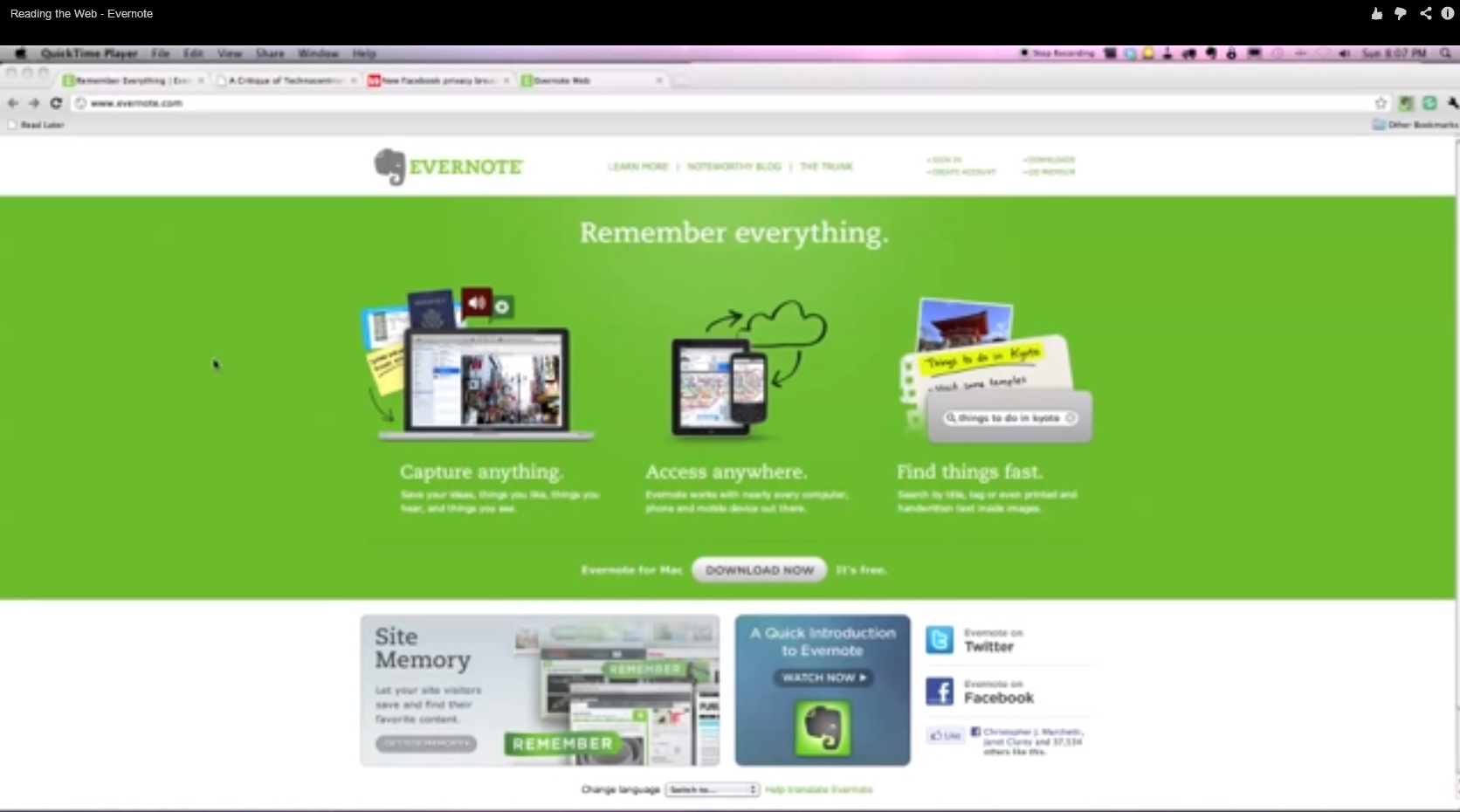 Reading the Web - Evernote