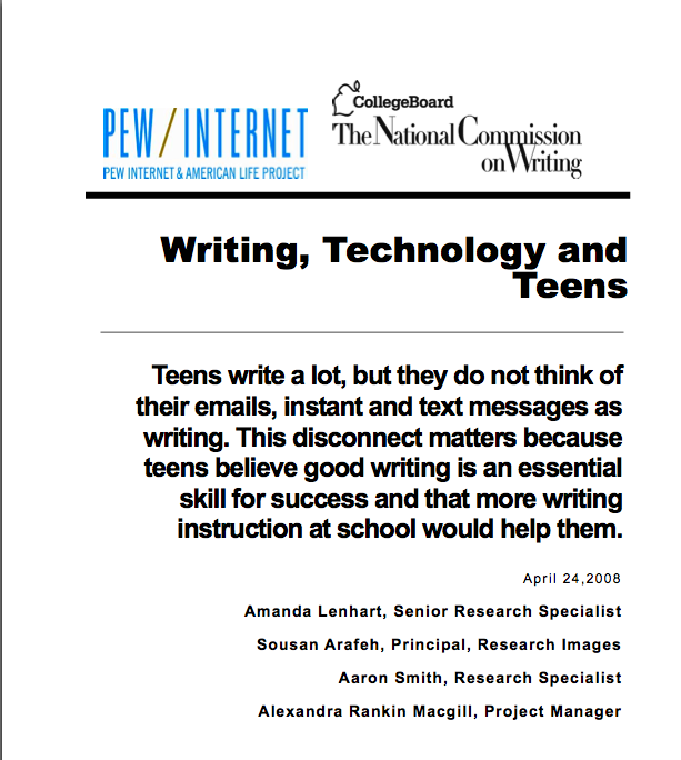 Writing, Technology and Teens