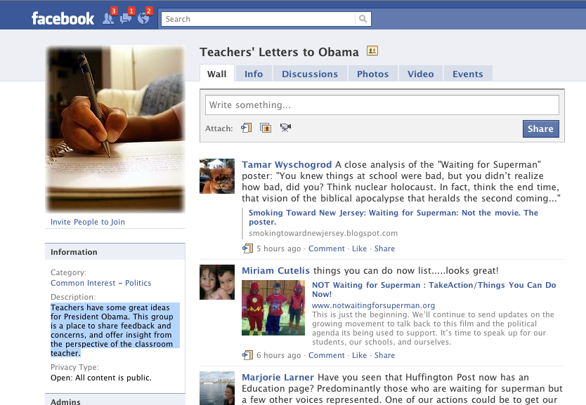 Teachers' Letters to Obama Facebook Group