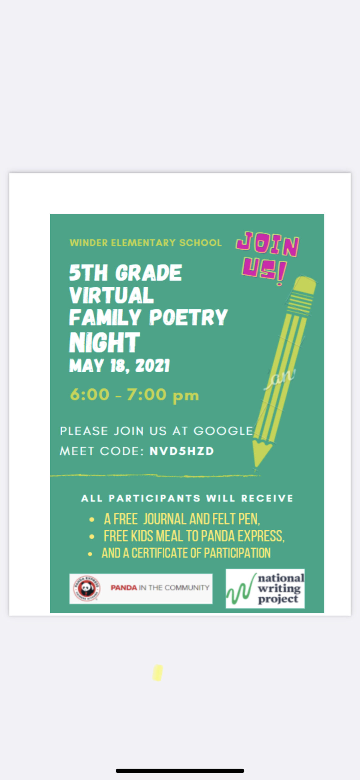 WES Family Poetry Night 2021